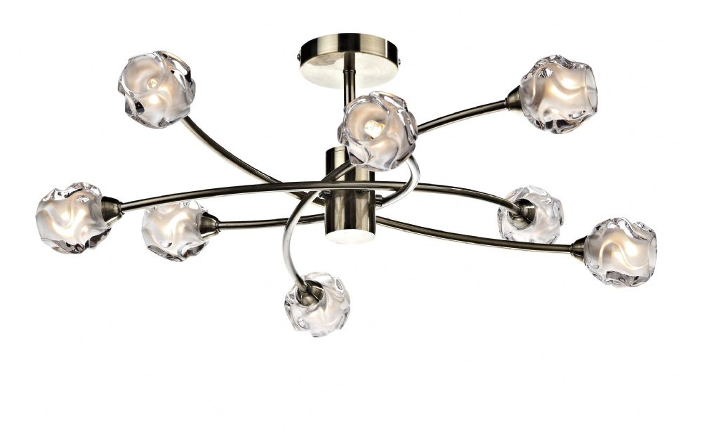0.1) Seattle 8-light Antique Brass Ceiling Light (Class 2 Double Insulated) BXSEA0875-17